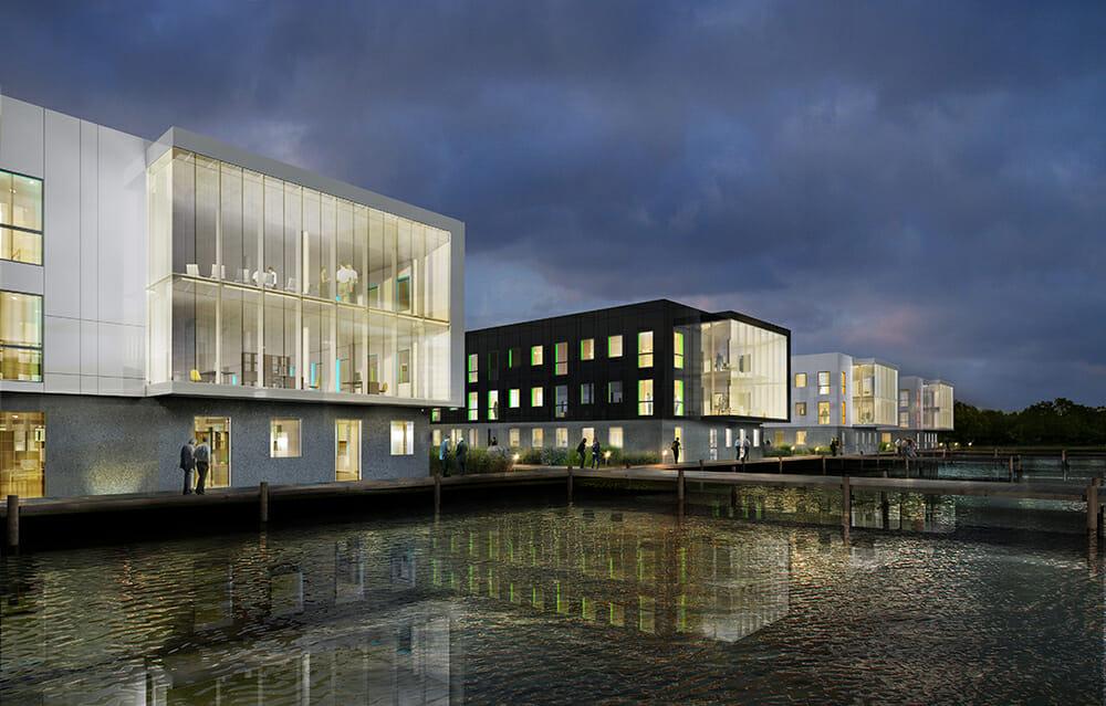 Simulation du parc tertiaire Le Havre Plateau, bureaux neufs au nord du Havre
